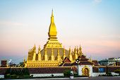 Pha That Luang, Great Stupa Is A Gold-covered Large Buddhist Stupa In The Centre Of Vientiane, Laos. poster