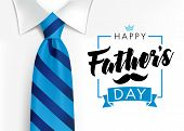 Happy Fathers Day Calligraphy Greeting Card. Fathers Day Vector Lettering Background With Blue Tie A poster