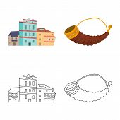 Isolated Object Of Culture And Sightseeing Symbol. Collection Of Culture And Originality Vector Icon poster