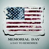 an american flag in a piece of paper and the text memorial day a day to remember, on an off-white pa poster
