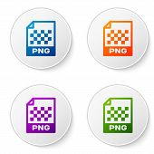 Color Png File Document Icon. Download Png Button Icon Isolated On White Background. Png File Symbol poster