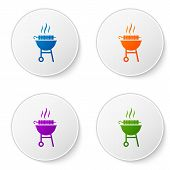 Color Barbecue Grilled Shish Kebab On Skewer Stick Icon Isolated On White Background. Bbq Meat Kebab poster