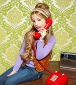 pic of babbler  - kid girl retro hip vintage talking busybody with red telephone - JPG
