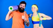 Man And Woman Exercising With Yoga Mat And Jump Rope. Fitness Exercises. Workout And Fitness. Girl A poster