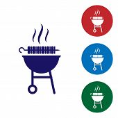 Blue Barbecue Grilled Shish Kebab On Skewer Stick Icon Isolated On White Background. Bbq Meat Kebab  poster