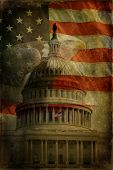 stock photo of eagles  - The United States Capitol American Flag and Bald Eagle with aged textured effect - JPG
