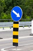 notification sign  changes direction of movement due to works on road  poster