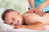 Masseur Doing Massage Boy, Massage Boy Love, He Is Happy And Relaxed poster
