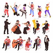 Musicians Playing Musical Instruments Isometric Characters Set With Rock Band  Cellist Trumpet Class poster