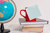 Globe Map World Earth Coffee Cup Blank Colored Sticky Note Stacked Piled Books Lying Retro Vintage R poster