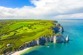 Picturesque Panoramic Landscape On The Cliffs Of Etretat. Natural Amazing Cliffs. Etretat, Normandy, poster