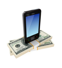 pic of mobile-phone  - Modern mobile phone and dollar packs - JPG