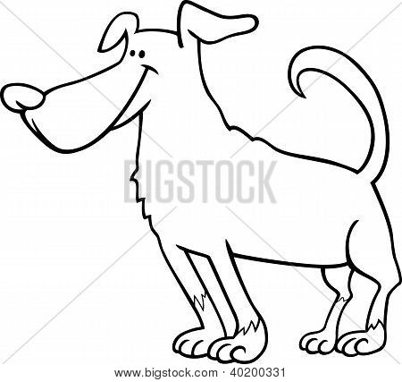 Cute Dog Cartoon For Coloring Book