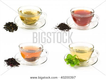 Set Of Glass Cups With Different Teas