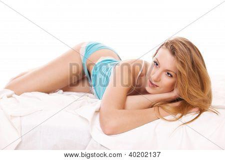 Beautiful Woman In Blue Underwear