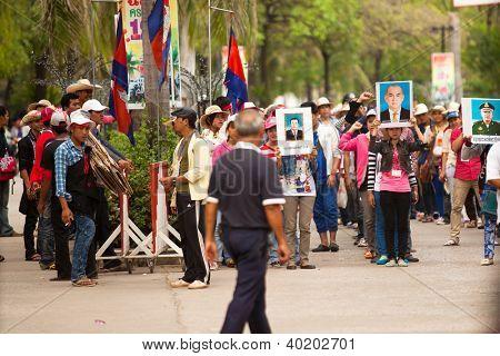 POIPET, CAMBODIA - DEC 12: Participants of protest on the Cambodia /Thailand border, Dec 12, 2012 on Poipet, Cambodia. Cambodia and Thailand have had sporadic border conflict over territorial dispute.