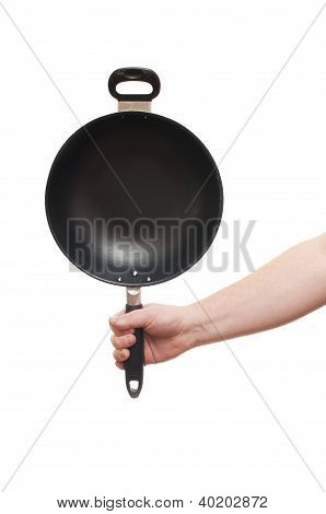 Frying Pan In Hand On White Background