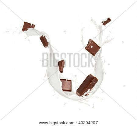 Bars of chocolate in milk splash, isolated on white background