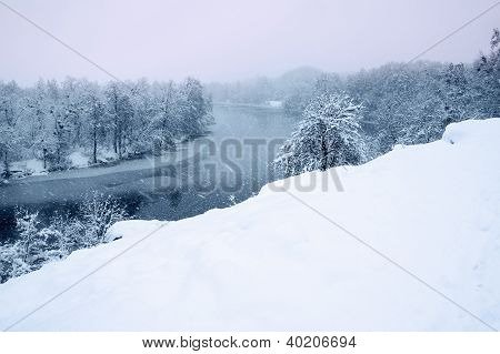 View Of The Snow-covered River