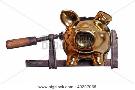 Piggy Bank Under Pressure In Old Clamp