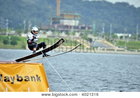 Water Ski In Action: Man Jump