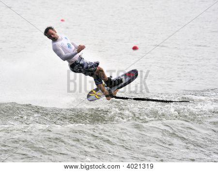 Water Ski In Action: Man Shortboard Tricks