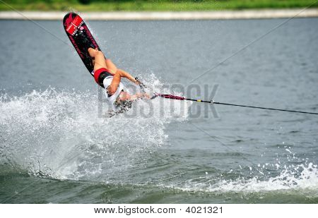 Water Ski In Action: Woman Shortboard Tricks