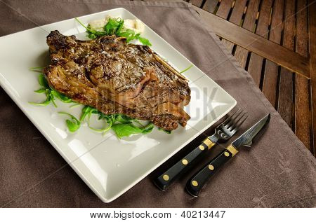 Grilled sirloin beef steak on white plate, BBQ meat