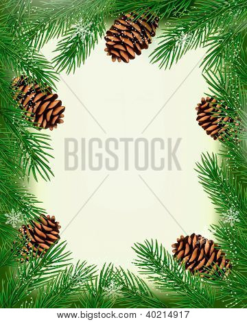 Frame made of christmas tree branches with pine cones. Raster version of vector