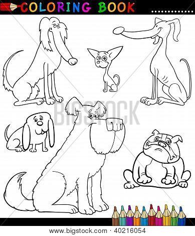 Dibujos animados de perros y cachorros para colorear libro