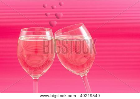 Wine glasses and heart