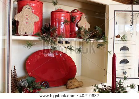 Pretty red pottery and gingerbread men