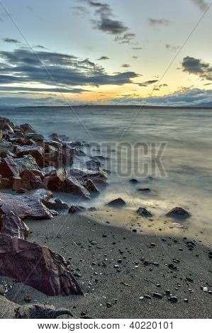 Edmonds Beach At Sunset On Puget Sound, Edmonds, Washington