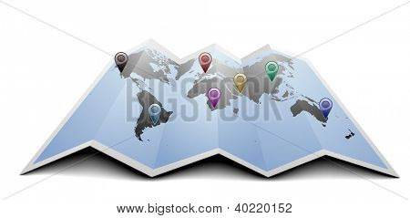 illustration of a world map with gps symbols on folded paper