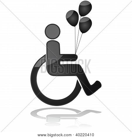 Kid In Wheelchair Holding Balloons