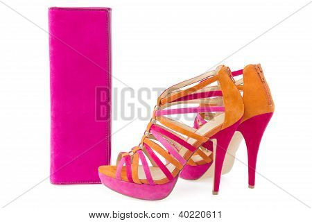 Pare Of Pink And Orange Shoes And A Matching Bag, Isolate On White