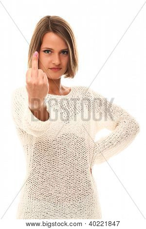 Beautiful woman showing rough gesture over a white