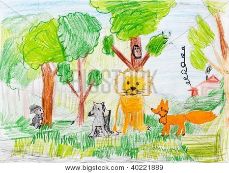 animals in the forest. child's drawing