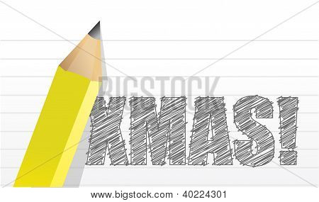 Xmas Written In Black On A Notepad Paper
