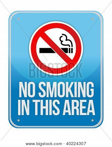 Blue Square No Smoking In This Area Sign