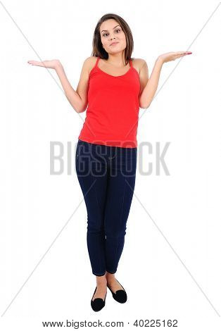 Isolated young casual girl confused