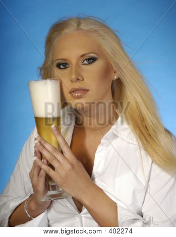 Sexy Blond With Beer 2