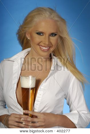 Sexy Blond With Beer 5