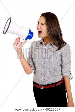 Isolated young business woman with megaphone