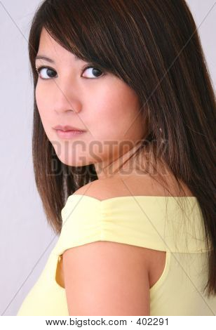 Asian Woman Yellow Top