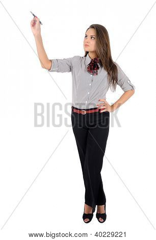 Isolated young business woman drawing