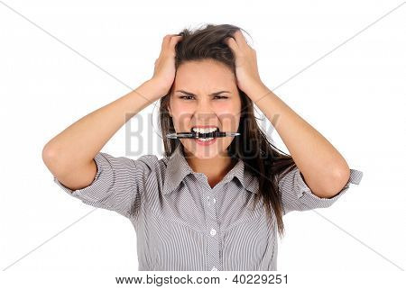 Isolated young business woman furious
