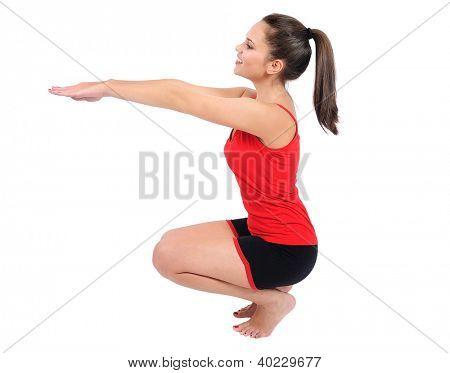 Isoliert jung Fitness frau Ausbildung