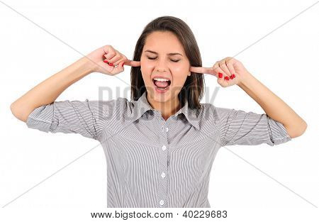 Isolated young business woman not listening