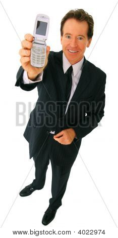 Isolated Businessman Holding Cellphone Smiling